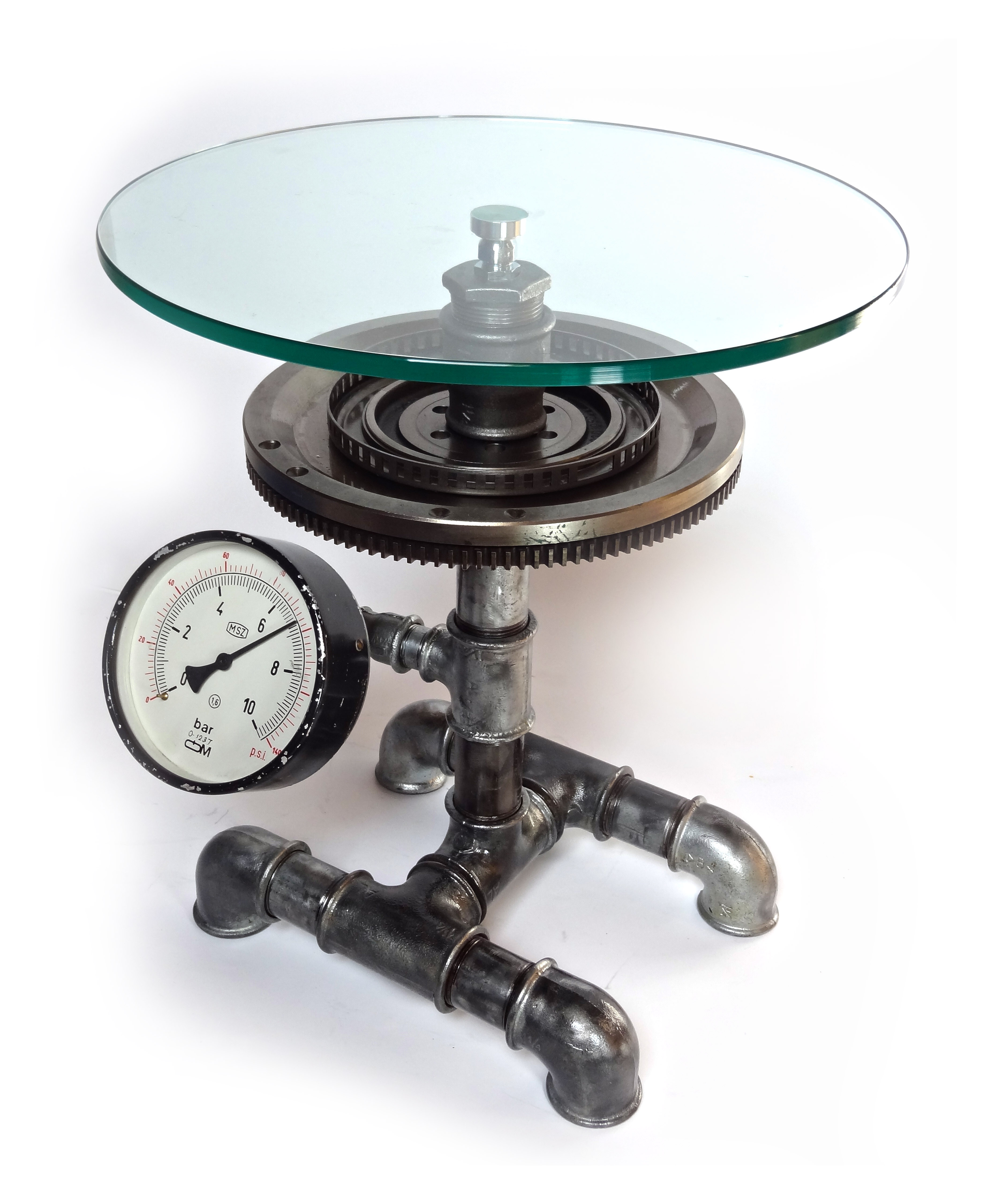 Steampunk Glasbeistelltisch aus Wasserrohren, Zahnrad und Manometer