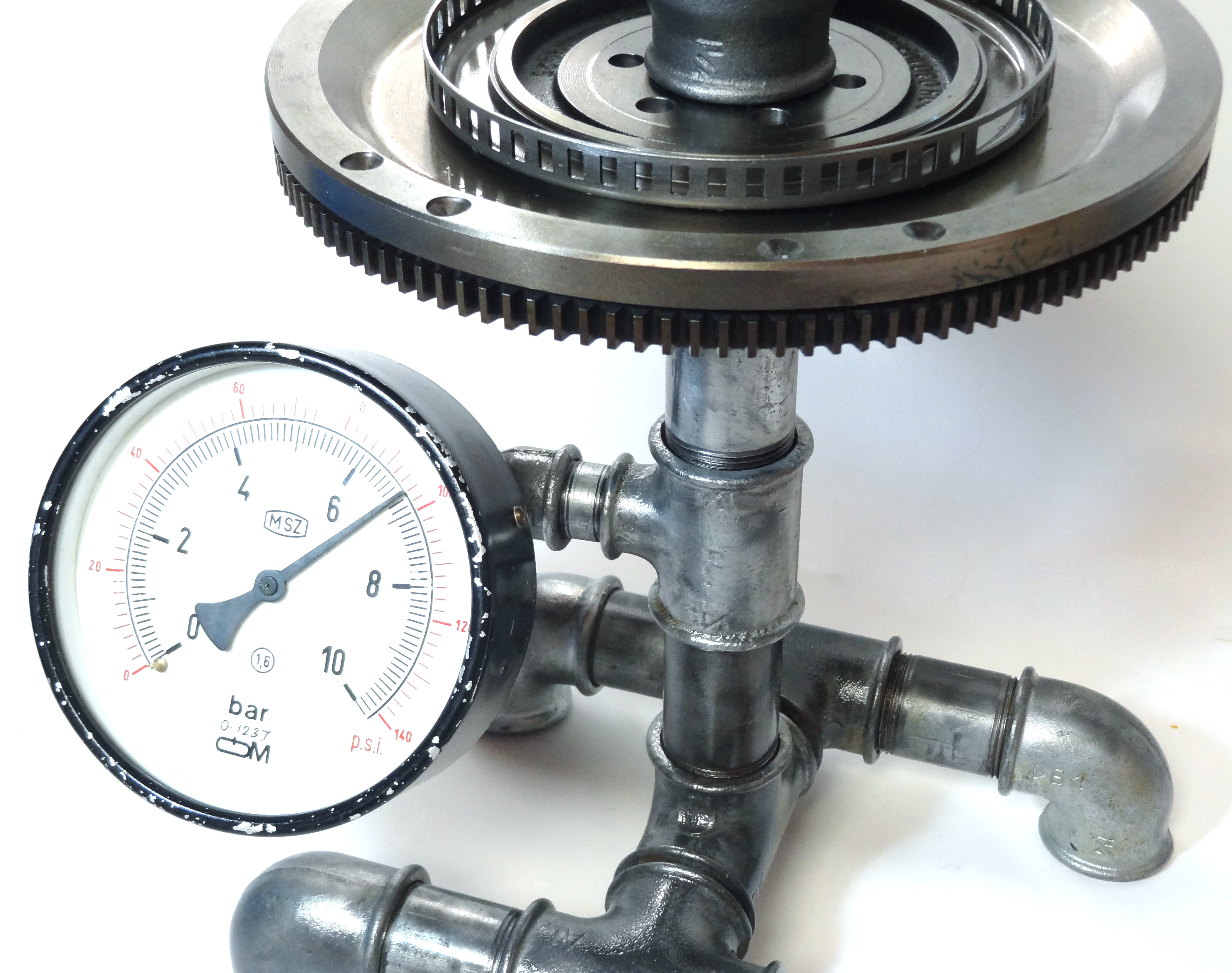 Steampunk Fitting Tisch Zahnrad Glas DSC00236